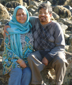 Halima Amjad's parents at Acadia National Park in Maine in 2012, on their last trip together.
