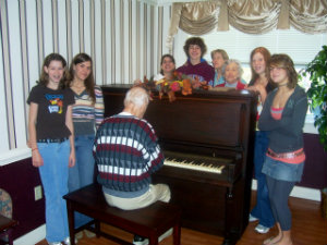 Rosemary Rawlins' father plays piano for his children and grandchildren.