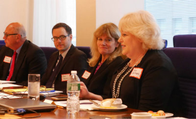 From right, Amy Berman, John A. Hartford Foundation President Terry Fulmer, Jon Broyles of C-TAC, and Bud Hammes of Respecting Choices engage in a recent convening held by JAHF on