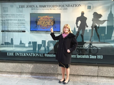 The John A. Hartford Foundation President Terry Fulmer, at the Rockefeller Center display window.