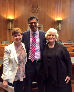 From left, Dr. Kate Lally, Dr. Atul Gwande, and Amy Berman in the Dirksen Senate Office Building hearing room where they testified.